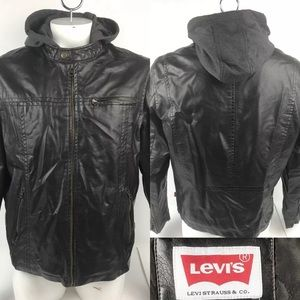 Levis Zip Up Gray Hood Brown Faux Leather Jacket